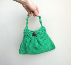 PDF crochet PATTERN handbag / purse / clutch / little girl bag - DIY tutorial - Quick and easy gift - kelly green. $4.90, via Etsy.
