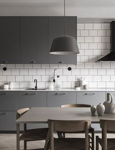 60 Popular Scandinavian Kitchen Designs For Your Modern House - Nordic Kitchen, Scandinavian Kitchen, Kitchen Grey, Grey Kitchen Designs, Modern Kitchen Design, Kitchen Decor Themes, Home Decor, Modern Kitchen Lighting, New Kitchen Cabinets