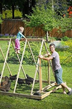 chicken tractor - wheels all around = easy to push instead of lift & pull like the a-frame style of this one
