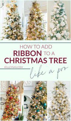 Ribbon On Christmas Tree, Pretty Christmas Trees, Christmas Tree Design, Christmas Tree Themes, Christmas Love, Gold Christmas Decorations, Christmas Holidays, Christmas Manger, Ribbon On Tree