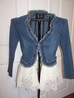 Denim and Lace Upcycled Bohemian, Gypsy,