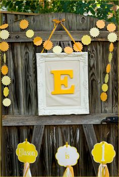 Cute idea with vintage painted picture fame and different colored letter. Could use in your home after the weddding for decor.