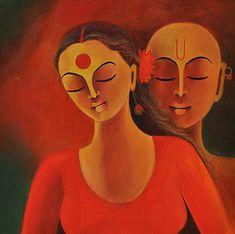 Couple Painting - Couple by Manisha Raju Music Drawings, Couple Drawings, Indian Folk Art, Indian Artist, Indian Art Gallery, Couple Painting, Mother Painting, Indian Art Paintings, Abstract Paintings