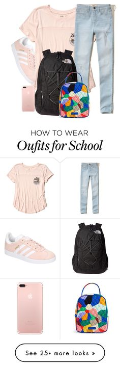 """""""do you like school?"""" by m1nty on Polyvore featuring Hollister Co., adidas, The North Face, Vera Bradley and vintage"""