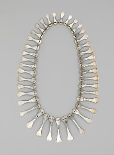 Necklace | Alexander Calder, 1940. Hammered silver. Love how woven.