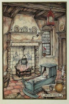 Anton Pieck - geboortekaartje Anton Pieck, Dutch Painters, Dutch Artists, Fantasy Landscape, Art World, Illustration Art, Vintage Illustrations, Portraits, Vintage Art
