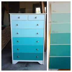 Paint swatch dresser. My friend Sarah did this! Look how well it turned out- such an awesome idea!