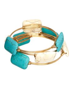 Another great find on #zulily! Turquoise & Gold Rectangle Bangle Set by Sevil 925 #zulilyfinds