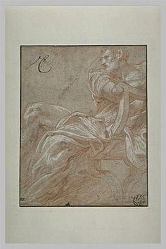 Le ¨Primatice:  Homme drapé, de 3/4 vers la gauche, assis sur une chaise curule, Le Louvre