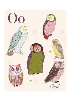 'Alphabet Poster - Owls' by whatmilk