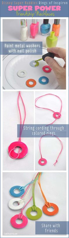 DIY Crafts Using Nail Polish - Fun, Cool, Easy and Cheap Craft Ideas for Girls, Teens, Tweens and Adults | Super Buddies Rings of Inspiron Super Power Friendship Necklaces #jewelrynecklaces