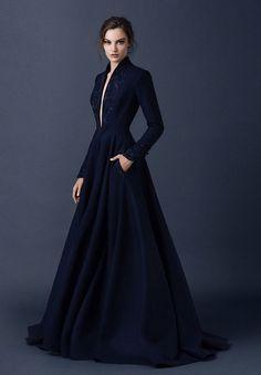 Vestido longo - Azul marinho - paolo sebasion