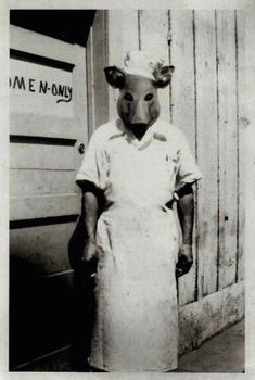 Scary Weird Creepy Old Photos ~ butcher in pig head mask