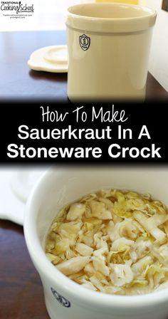 How To Make Sauerkraut In A Stoneware Crock {free video & print recipe!} How To Make Sauerkraut In A Stoneware Crock Making Sauerkraut, Homemade Sauerkraut, Sauerkraut Recipes, Sausage Sauerkraut, Sauerkraut Crock, Fermented Sauerkraut, Cabbage Recipes, Fermentation Recipes, Canning Recipes