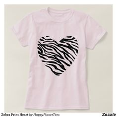 Zebra Print Heart T-Shirt   Head out in style with this seasons must have ; animal print!   #style #trend #summer #animal #animalprint #animalskin #wildlife #fashion #tee #tshirt #zebraprint #heart #love