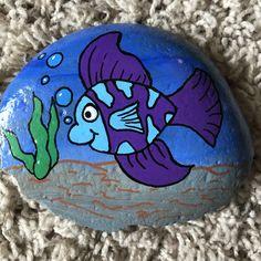 Purple fish painted rock #rockpainting #paintedrocks #underthesea #ocean