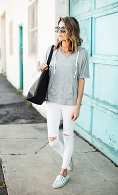 grey hoodie, white ripped jeans, espadrilles