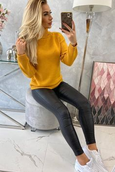 Pulover mustar dama cu guler inalt, pulover dama Smart Casual, Modeling, Skinny Jeans, Outfit, Products, Fashion, Elegant, Tricot, Outfits