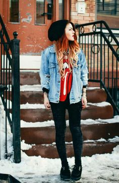#girl #outfit #winter #red #hair #redhair #hipster #hipstermode #mode #hipsterstyle #teenager #rollingstones