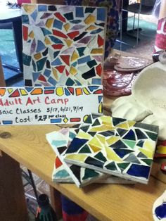4x4 and 6x6 bisque tiles Mosaics. These classes are given at The Ceramic Garden's pottery painting and art studio.