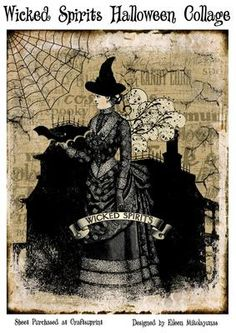wicked halloween crafts | Wicked Spirits Vintage Halloween Collage for Journals, Cards by Eileen ...