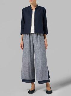 MISSY Clothing - Linen Crop Blazer
