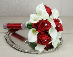 Red Rose and White Calla Lily Wedding Bouquet by GardenSideStudio, $71.00
