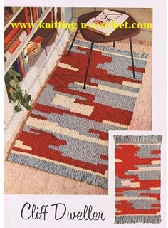 Vintage this crochet pattern contains directions for a crocheted rug that bears a Southwestern or Indian type motif. The rug is worked in three colors of Heavy Rug Yarn, with fringed ends. Crochet Carpet, Crochet Home, Free Crochet, Modern Crochet, Vintage Crochet, Vintage Rugs, Knit Rug, Rug Yarn, Crochet Rug Patterns