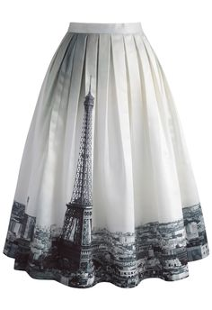 Eiffel Tower Dream Printed Midi Skirt - New Arrivals - Retro, Indie and Unique Fashion