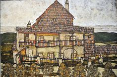 "Egon Schiele House with Shingle Roof also known as ""old House "" or ""House"" 1915 Black crayon , gouache and Oil on canvas 110 x 140cm Leopold Meseum Vienna"