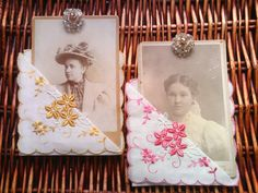 2 each Vintage - Cabinet Cards, Hanky & Set Crystal Earrings | $14.50 | 2 vintage embroidered 'tuck corner' handkerchiefs, 2 large cabinet cards of Victorian Ladies topped off with a pair of vintage crystal clip earring | by SweetAngelVintage