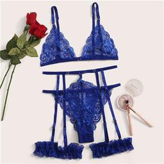Scalloped Trim Floral Lace Garter Lingerie Set Women Bralettes Intimates Bra And Thongs Ladies Sexy Sets Lace Lingerie Set, Women Lingerie, Sexy Lingerie, Lace Garter, Lace Babydoll, Blue Lace, Floral Lace, Cute Outfits, Lady