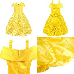 Padete Little Girls Princess Yellow Party Costume Off Shoulder Dress