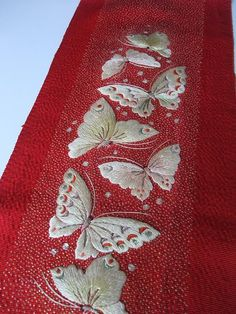 The Beauty of Japanese Embroidery - Embroidery Patterns Chinese Embroidery, Hand Work Embroidery, Butterfly Embroidery, Brazilian Embroidery, Embroidery Art, Cross Stitch Embroidery, Embroidery Patterns, Embroidery Neck Designs, Butterflies