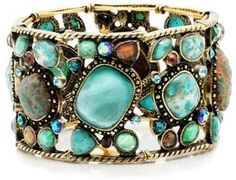 Chunky turquoise bracelet with some sparkle...love this!
