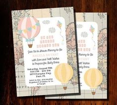 """Oh the places she'll go! Absolutely precious baby shower invitation with the """"oh the places you'll go"""" theme from Dr. Seuss, featuring a faded map background and super cute hot air balloons. Can be made for a boy, girl, or gender neutral baby shower, or even for a birthday. Text and colors are customizable according to your event. Oh the Places You'll Go Invitation, Hot Air Balloon Invitation, Hot Air Balloon Baby Shower Invitation, Digital Printable Shower Invitation."""