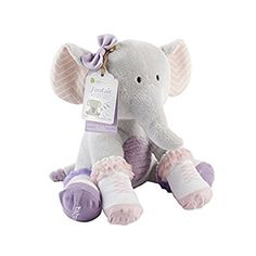 Baby Aspen, Tootsie in Footsies Plush Elephant and 2 Pair of Socks for Baby, 0-6 Months