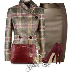 Career Fashion - Burgundy and Grey