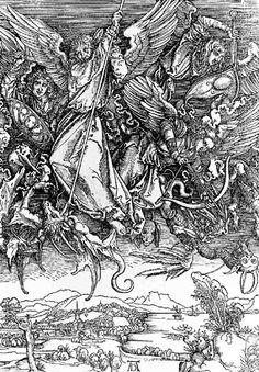 Saint Michael Fighting the Dragon, from The Apocalypse, Albrecht Dürer (German, Nuremberg Nuremberg), Woodcut Saint Michael, St. Michael, Jan Van Eyck, Hieronymus Bosch, Albrecht Durer, Apocalypse, Atelier Theme, Art Sur Toile, Arte Obscura