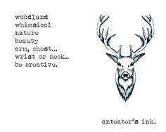 Dessin, tatouage, cerf, encre noire