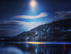 """""""Donner Lake Moonshines"""": Truckee CA Light shines dispels darkness. reveals much  as imagination reigns supreme.   Thus endeth our series of BLUE. Next up: SUNSETS!"""