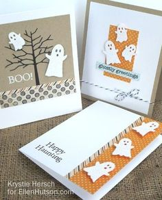 Memory Box Ghost Trio halloween cards by Krystie Hersch for EllenHutson.com