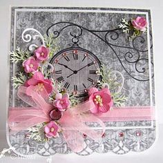 Pink and grey card-ill remove the clock though