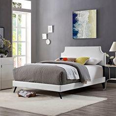 Laura Full Vinyl Platform Bed with Round Splayed Legs in White