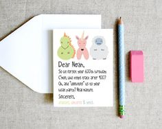 Dear Noah Dragon Unicorn Yeti belated forgotten birthday card sarcastic funny clever doodle illustrations via Etsy
