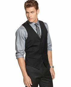 Joel is going to look like a stud in this! Grey shirt, black vest and pants, and plum purple tie