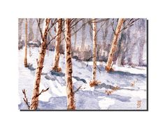 Snow in the Aspens - Original ACEO Miniature Watercolor Painting, US Artist, BRJ #Miniature