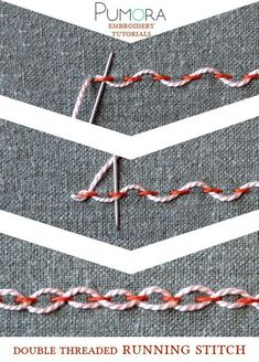 crewel embroidery tutorial double threaded running stitch tutorial - Learn how to embroider with the lexicon of embroidery stitches. Step by step tutorials on how to do the running stitch and it's variations.French Knot Stitch Method How To Do Stem S Crewel Embroidery Kits, Embroidery Stitches Tutorial, Learn Embroidery, Embroidery Needles, Silk Ribbon Embroidery, Hand Embroidery Patterns, Embroidery Techniques, Cross Stitch Embroidery, Knitting Stitches