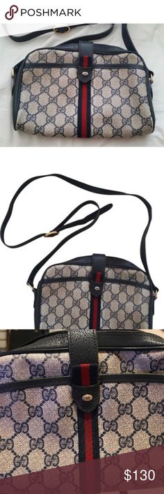 """Gucci Gg Monogram cross body Leather is navy gray. I have loved this bag! I just don't use it anymore. It is vintage and cannot be found anywhere else. Please ask any questions!Dimensions 9.5""""L x 7""""H x 2""""W. There is some internal wear as seen in pictures. Gucci Bags Crossbody Bags"""