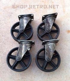 Antique Caster Wheels 5 inch Cast Iron Vintage Industrial Wheel. $210.00, via Etsy.